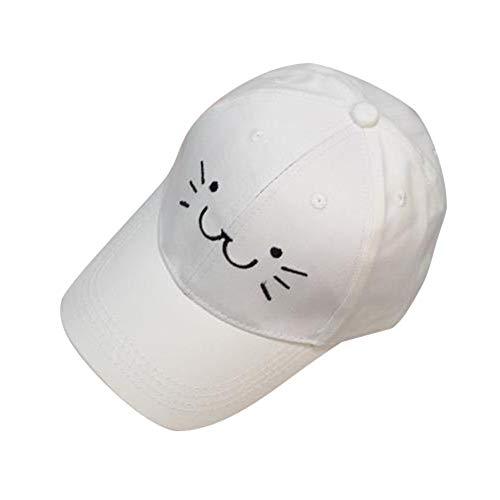 POIUIU Baseballmütze Baseballmütze Mode Einstellbare Stickerei Baseballmütze Niedlichen Cartoon Katze Gesicht Hip Hop Flachen Hut Lässige Kappe Für Jungen Mädchen, B