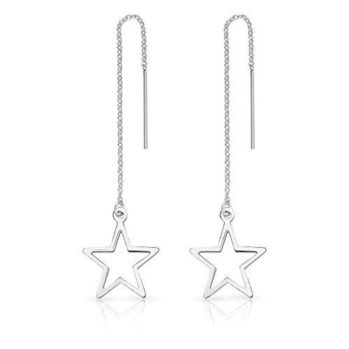 DTPsilver - Damen - Ohrringe Ohrhänger Durchzieher Kette 925 Sterling Silber Stern
