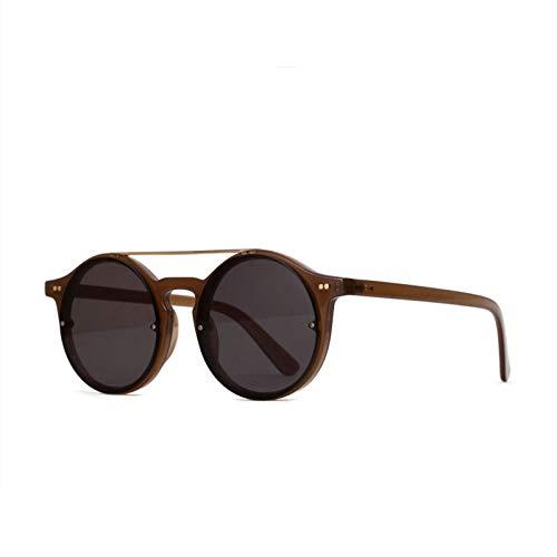 Taiyangcheng Weinlese-runde Sonnenbrille-Frauen-Farbton-Sonnenbrille-Männer Retro Markendesigner-doppelte Brücken-Hip Hop Eyewear,a4