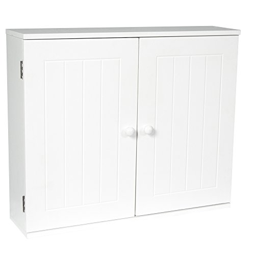 Bath Vida Double Door Wall Mounted Bathroom Cabinet, Wood, White