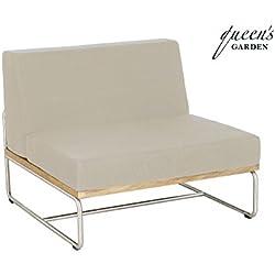 QUEEN GARDEN exklusives Loungemodul Baro mittig ausgerichtet, Sessel aus hochwertigem Edelstahl und FSC Teakholz, inkl. Auflage in taupe, ca. 85 x 85 x 72 cm, Kissenbezug waschbar, erweiterbar, robust