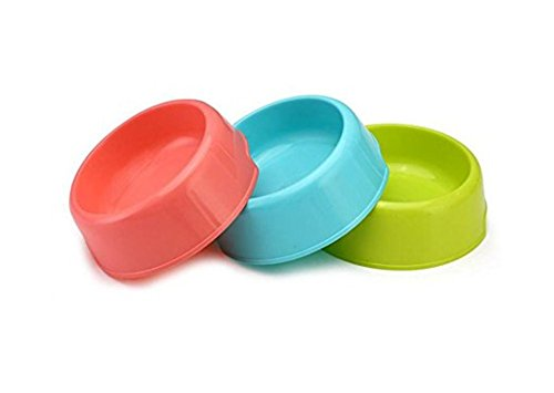 Vikenner Round Pet Dog Cat Plastic Bowl Durable Food Drink Feeder Bowl Candy Colors Feeding Dish Bowl(Blue) 8