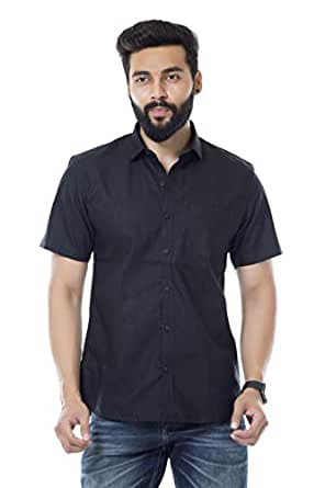 FIFTH ANFOLD FifthAnfold Men Solid Casual Black Half Sleev Shirt