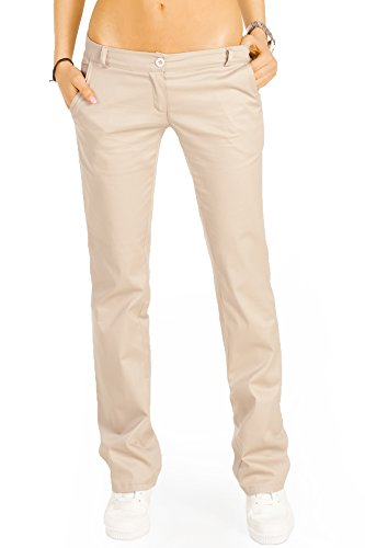 Bestyledberlin Elegante Damen Chino, Schicke Regular Fit Stoffhosen, Ausgestellte Sommer Hosen j20k 38/M beige