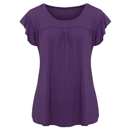 POPLY T-Shirt für Damen, Frauen Einfache Oberteile Beiläufiges kurzes Hülsen Tops Pullover Lose Feste O Ansatz Bluse(Lila,S) -