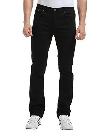 Alice & Elmer Herren Stretch Slim Fit Straight Leg Jeans Hose Schwarz 40W x 33L