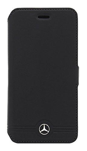 Mercedes-Benz MEFLBKS6EMSGR Reine Geprägte Linien Leder Booktype Kasten für Samsung Galaxy S6 grau schwarz