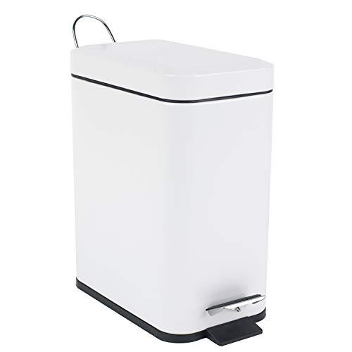 Beldray, blanco, Cubo de basura rectangular con pedal y tapa de cierre suave, 5 litros, LA041173WHT...