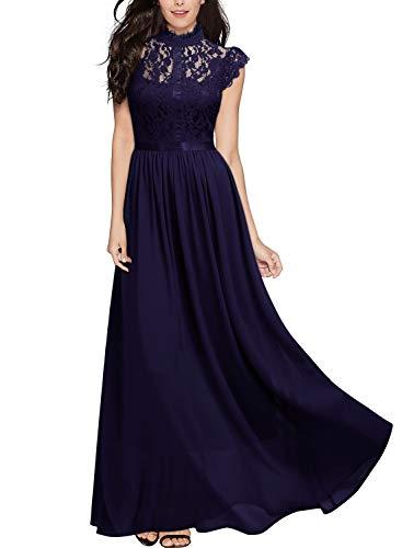 Miusol Damen Elegant Spitzen Abendkleid Brautjungfer Cocktailkleid Chiffon Faltenrock Langes Kleid Lila Gr.S - Chiffon-langes Kleid Lila
