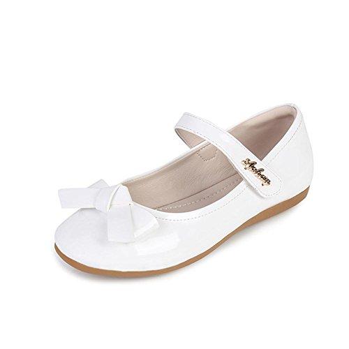 Kinder Prinzessin Ballerinas Party Schuhe Festliche Schuhe Blume Mädchen Studenten Lederschuhe Tanzschuhe Schmetterling Schuhe Party (31 Inner länge: 20,5cm, Weiß)