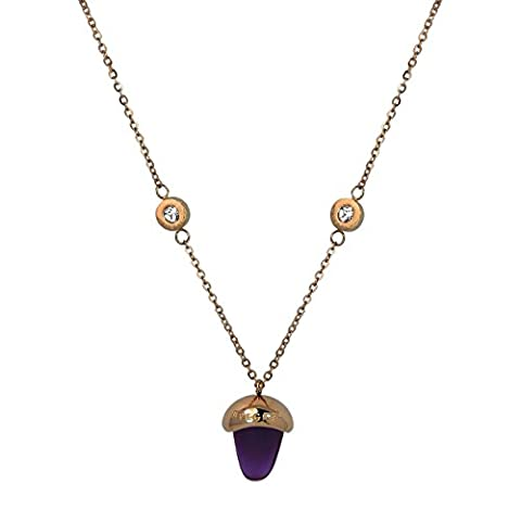 Acorn Mauve Fini or Rose 18 K avec Pendentif Collier Homme-Chaîne-Oxyde de Zirconium-Coffret cadeau-dessus