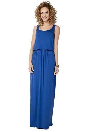 Futuro Fashion Femmes Été Débardeur Robe Maxi Long Sans Manche Robe de soleil Grande Tailles 8-18 FM21 Bleu Roi