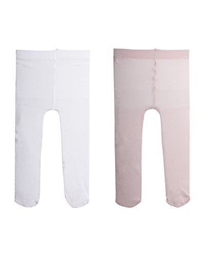 Calzitaly 2 paia - calzamaglia per neonata | collant primi passi | calze bimbi | 40 den | bianco, rosa | calzetteria italiana | (3 mesi, 1 paio rosa + 1 paio bianco)
