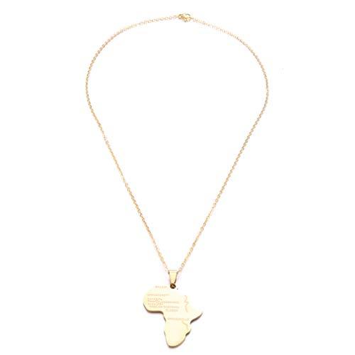 L_shop Edelstahl Karte Anhänger Halsketten Schmuck Mode Hohl Herz Afrika Karte Halskette Schmuck, Gold (Gold Afrika-karte Anhänger)