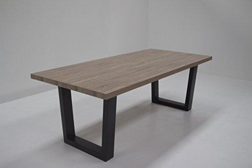Table de séjour avec pieds-U en métal UNICUS, Plateau de table 50 mm en décor chêne Sonoma gris 240 cm