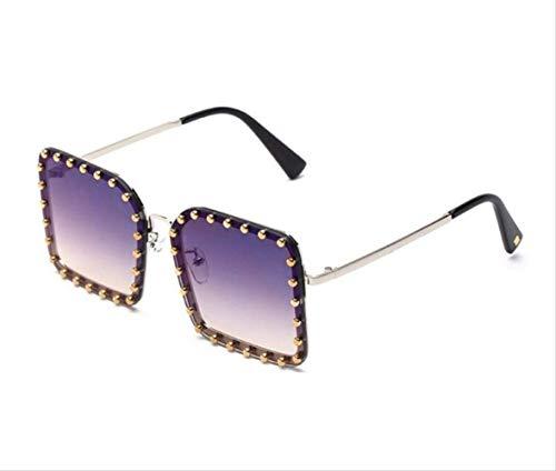 shengbuzailai Metalldesigner-volle Korn-quadratische Sonnenbrille- Weinlese- Sonnenbrille- Schatten für Frauen-Niet-Steigungs-Gläser A5