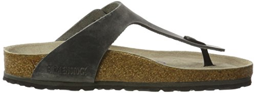 Birkenstock Gizeh Leder Softfootbed, Tongs Mixte Adulte, Artic Old Iron Schwarz (Artic Old Iron)