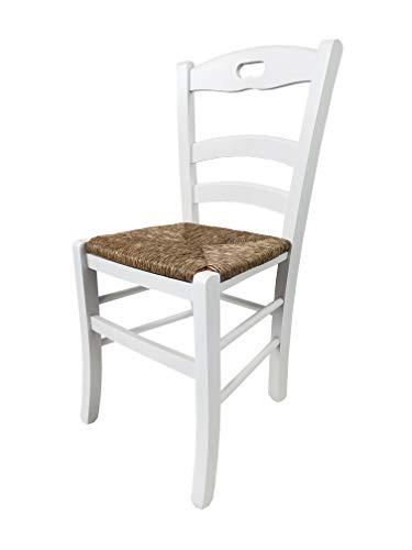 Totò piccinni ordine min. 2pz, sedia loire, in legno di faggio, altissima qualita', l43xp46xa87 cm (bianco laccato, seduta paglia)