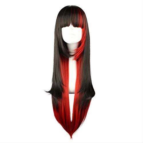 COSPLAZA Kostüm Perücke lang schwarz gemischt rot Hexe Vampir Halloween Rollenspiel Anime Show Lolita Maid Cosplay Perücke mit Pony spielen