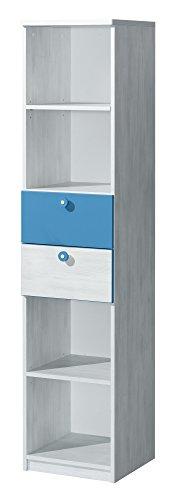 Preisvergleich Produktbild Bücherregal NUKI Regal Standregal Kinderzimmer Babyzimmer (Norwegische Kiefer - Hellblau)