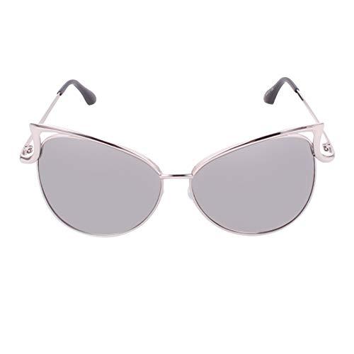 Haiyemao Mode Sonnenbrillen Damen Sonnenbrillen Metallrahmen Cat Eye Spiegel Brille Übergroße Brillen UV400 Schutz Sonnenbrille im Freien Sportler (Color : Silver)