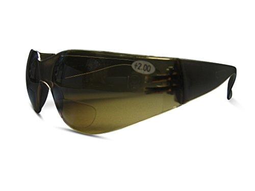 Bifokal Sicherheit High Impact Brillen und Sonnenbrille klar oder hellbraun Objektive UV-Schutz, braun
