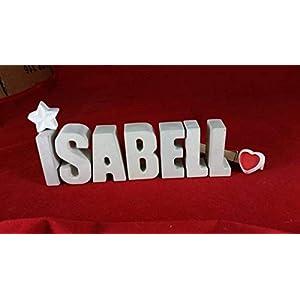 Beton, Steinguss Buchstaben 3D Deko Namen ISABELL mit Stern und Herzklammer als Geschenk verpackt! Ein ausgefallenes Geschenk zur Geburt, Taufe, Geburtstag oder auch zu anderen Anlässen.