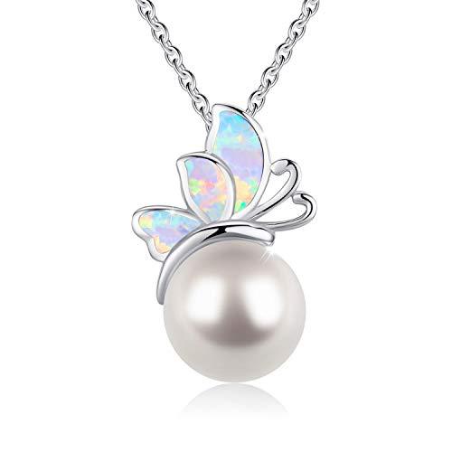 Sterling Silber Schmetterling Kette,Opal Halskette Perle Anhänger mit Opal Schmuck Geschenke für Frauen Mädchen Kette 18 '' + 2 '' Verlängerungskette einstellbar mit Geschenkbox (Schmetterling Halskette Für Mädchen)