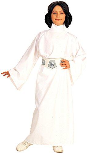 Star Wars Kinder Mädchen Fasching Halloween Karneval Kostüm Princess Leia (128-140 Medium)
