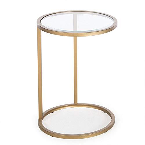 Tables FEI - Bureau d'ordinateur de canapé d'extrémité de café côté Rond, Verre doré, d'ordinateur Portable pour Tous Les postes de Travail
