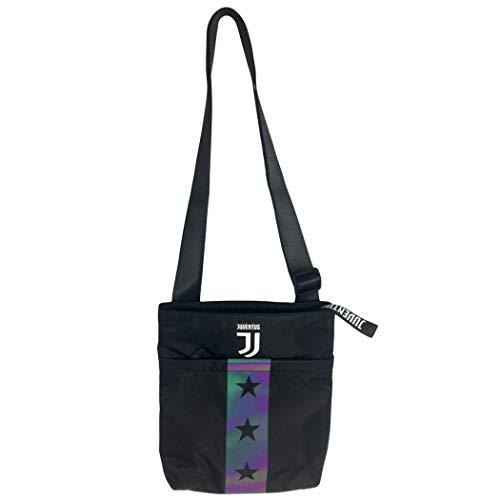 Tracolla juventus vertical shoulder bag, nero, flash effect, scuola sport & tempo libero