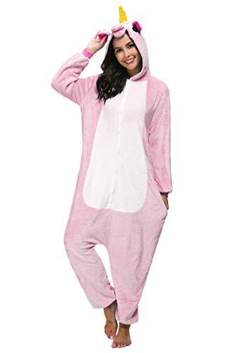 Pigiama Unicorno Cosplay Intero Unisex Animale Costume Halloween Carnevale Attrezzatura Festa Party Sleepwear Tuta- Mescara (L, Rosa)