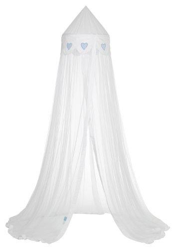 ✮ Taftan ✮ Himmel Bett für Kinderzimmer 100% Polyester | weiß und blau–Motive: coeurs| Maße: H275cm–Ø 60cm | Fliegengitter: Ideal gegen Insekten | schön, praktisch und Qualität