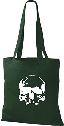 T-shirt Di Stoffa Tinta Unita A Forma Di Teschio Con Teschio Teschio Di Colore Verde Bottiglia