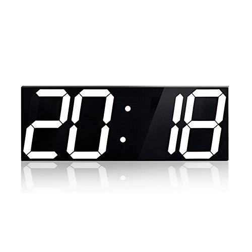 Réveil Numérique, Horloge Stéréo Acrylique À LED,Murale De Mode Boîte Créative Avec Un Grand Miroir Organique Avec Un Grand Écran De Sensibilisation Automatique, 42 * 2.4 * 16Cm,White