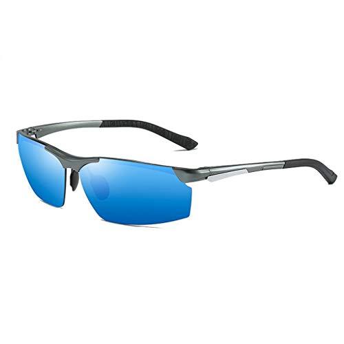 Jinxiaobei Herren Sonnenbrillen Polarisierte Sport-Sonnenbrille bequemes Silikon-Bein, UV-Schutz farbige Linse UV400-Schutz (Color : Blue)