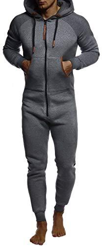 LEIF NELSON Herren Overall Jumpsuit Onesie Trainingsanzug Jogginghose Trainings T-Shirt Fitness Männer Strampelanzug Bekleidung LN8270; Größe L; Anthrazit