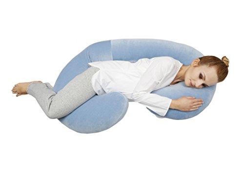 Motherhood 5901323922060 Still- und Lagerungskissen sleepy-C Premium aus Baumwoll-Velour, Öko Tex Standartd 100, blau classics