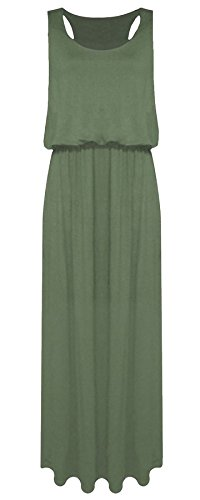 Islander Fashions Damen �rmelloses R�cken Baloon Long Toga Maxi Damen Puff Ball Jersey Maxikleid Khaki Medium/Large (Puff Kleid Ball)