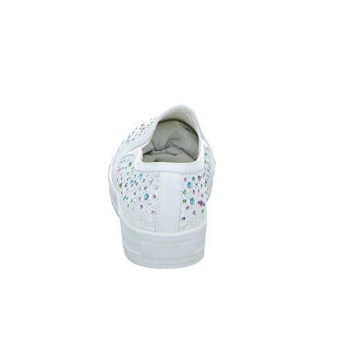 SDS 1360-Y Damen Leinen Slipper/Kletthalbschuh Weiß (Weiß)