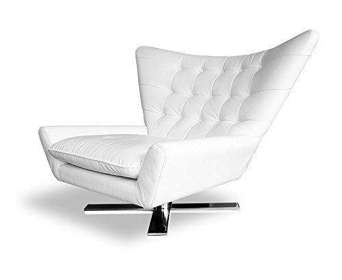 Drehbarer V-förmiger Echtleder Ohrensessel Fernsehsessel Armlehnsessel Lounge Sessel. Abbildung in Leder Weiß