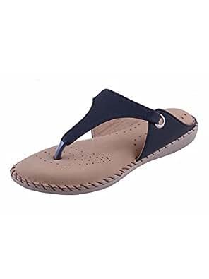 Adorn Women's Black Flat Sandal - 4