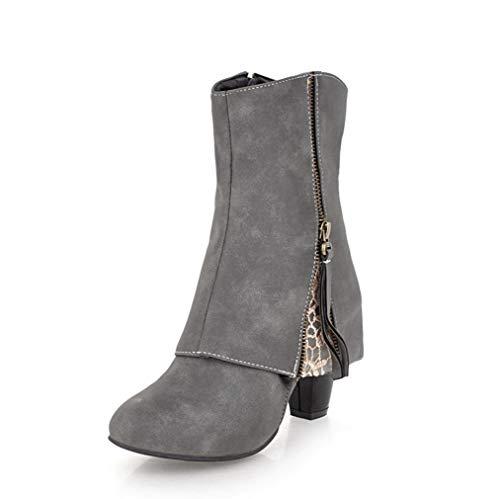 SHANGWU Damen Gothic Punk Stiefel Stiefel/Plattform Schnürschuhe Casual Stiefel Mode Kalb Stiefel Block Chunky Heels Stiefel Kurze Stiefel Größe (Farbe : Grau, Größe : 35) (Grau Stiefel Kurze Uggs)