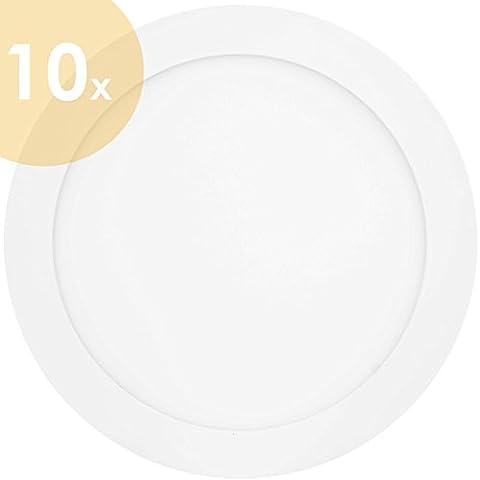 10x Lumira–18W Ultra Slim LED Panel, 225mm de diámetro, empotrable lámpara de techo Foco de Luz de techo lámpara, 18W de potencia, Repuesto para 140W tubos fluorescentes, 1350lúmenes, redondo, incluye montaje de montaje de grapas y transformador, Kaltweiß 18.00 watts