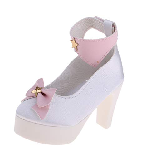 Baoblaze Mode Kunststoff High Heel mit Gürtel Puppenschuhe für 1/3 BJD Mädchen Puppen - Weiß