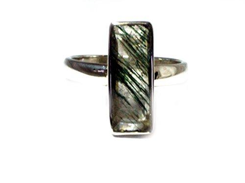 Pietre semipreziose di quarzo verde argento sterling anello quadrato (P/7,5)