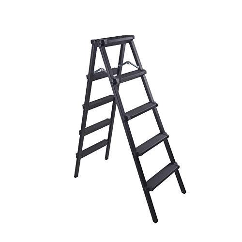 altbare Leiter Leiter Stuhl multifunktionale Technik, Haushaltsschiebleiter, das Wort Leiter dick, schwarz Klappstufen (Size : 5 Step) ()