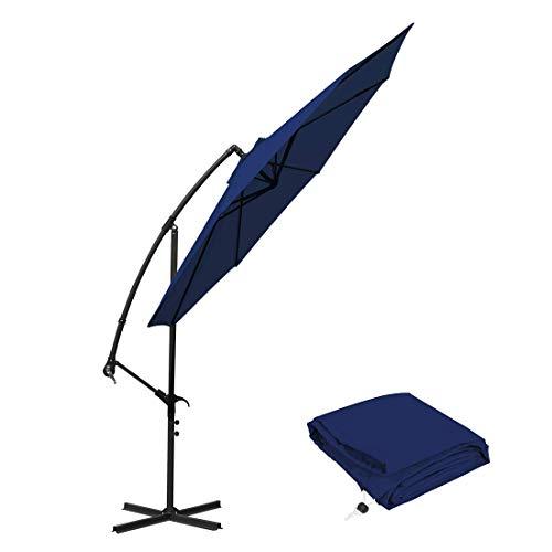 10 ft Offset Cantilever Patio Umbrella Outdoor-Markt hängen Sonnenschirme & Kurbel mit Cross Base, 8 Rippen (10 ft, blau) (Markt Sonnenschirm Blau)