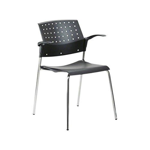 Stapelstuhl mit Armlehne, Besucherstuhl aus Holz, Konferenzstuhl, Bürostuhl