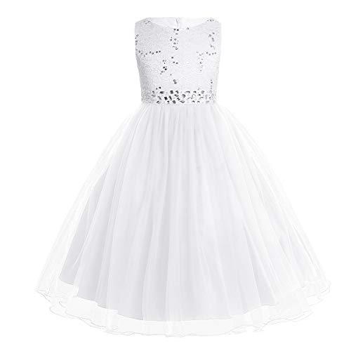 CHICTRY Kinder Mädchen Kleid festlich Lange Brautjungfern Kleider Hochzeit Blumenmädchenkleid Prinzessin Party Kleid Tüll Festzug Weiß 128